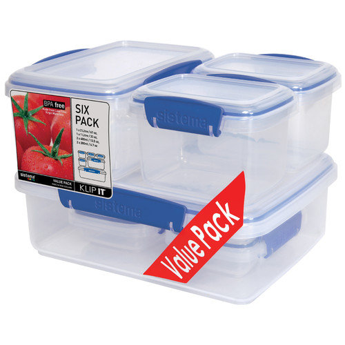 Sistema USA KLIP IT  Value Pack Lunch Storage Containers (Set of 6)