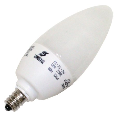 LongStar 00207 - FE-ZS-7W/27K Torpedo Screw Base Compact Fluorescent Light Bulb