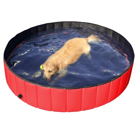 Pool Spa Pond (L Foldable PVC Dog Swimming Pool Bathing Tub,Water Pond Pool for Pet & Kids in Summer)