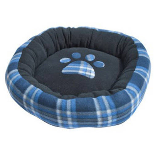 ALEKO PDBOS3 Blue Plaid Polar Fleece Round Soft Cushion Crate Pet Bed For Dogs and Cats, 20X19X5""