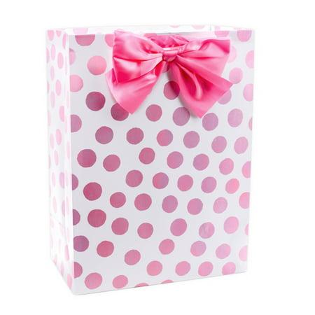 Hallmark Oversized Baby Shower Gift Bag Pink Polka Dots Walmart Com