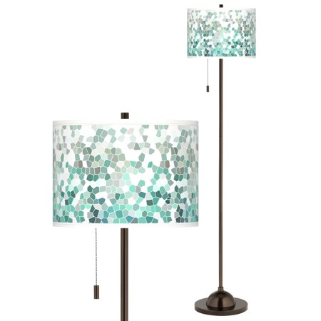 Mosaic Floor Patterns (Giclee Glow Modern Floor Lamp Tiger Bronze Aqua Mosaic Pattern Giclee Drum Shade for Living Room Reading Bedroom Office )
