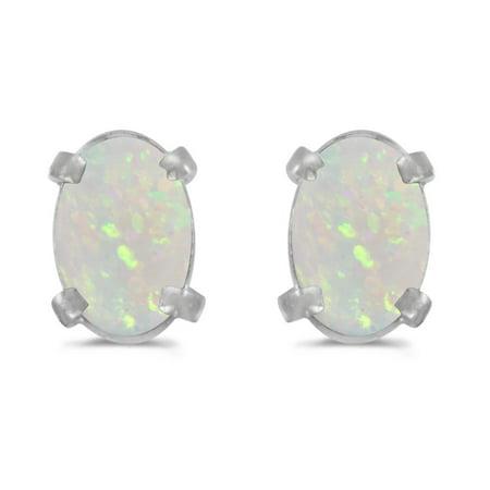 14K White Gold .38 ct Oval Opal 6x4mm Gemstone Stud Earrings for Women