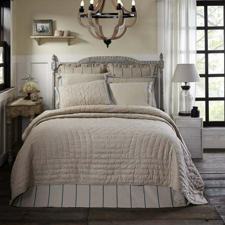 Greige Tan Farmhouse Bedding Charlotte Cotton Linen Blend Pre-Washed Solid Color Luxury King Quilt