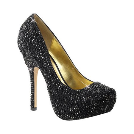 FABULICIOUS FELICITY-20 Women's Rhinestone Platform High Heel Wedding Pumps Dyeable Satin Wedding Platform Shoes