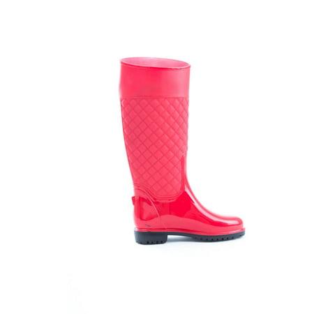 Women's Vinyl Knee High Quilted Wellington Rain (Knee High Rain Boots)