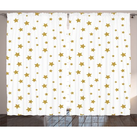 House Decor Curtains 2 Panels Set, Golden Stars Pattern Creative Stylish Birthday Bachelorette Theme Decoration, Window Drapes for Living Room Bedroom, 108W X 84L Inches, Gold White, by Ambesonne - Star Wars Bedroom Decorations