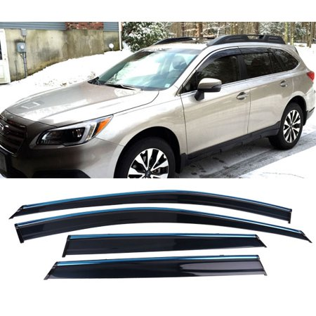 All American Auto Dark Smoke w/ Chrome Trim Polycarbonate Side Window Deflector/Visor 4-Piece Set for 2015-2018 Subaru - Subaru Outback Diamond