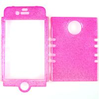 Rocker Series Snap-On Protector Case for Apple iPhone 4 / 4S (Trans. Glitter Hot Pink)