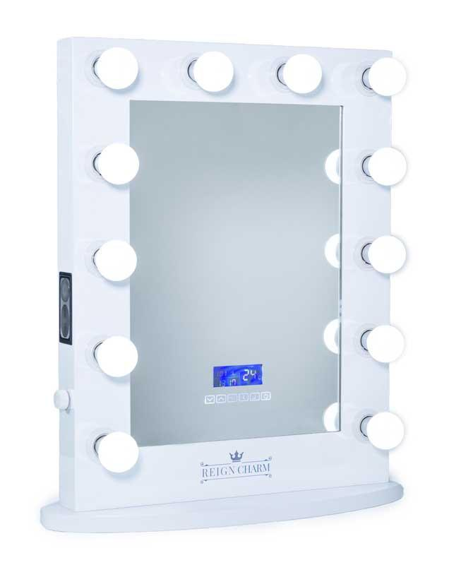 Hollywood Vanity Mirror Bluetooth Audio-Enabled Speakers, 12-LED Light Bulbs, White, 22-Inches Wide x 29-Inches High by ReignCharm