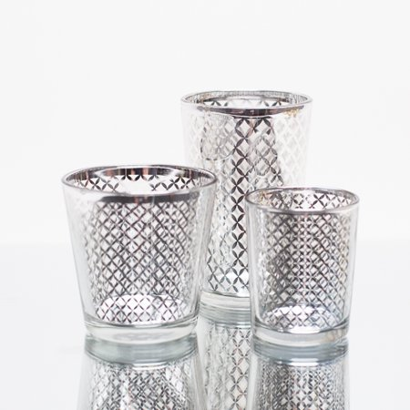 Richland Silver Lattice Glass Holder - Large Set of