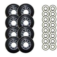 Black 72mm 82A Inline OUTDOOR Skate Wheels + ABEC 9'S