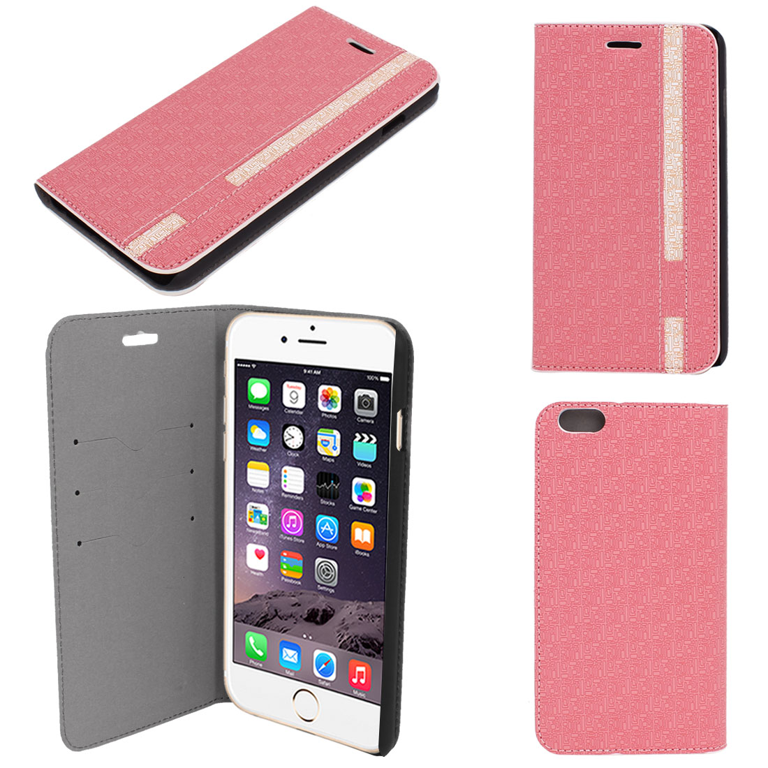 """Fuchsia Faux Leather Flip Case Protector Cover for Apple iPhone 6 6G Plus 5.5"""""""