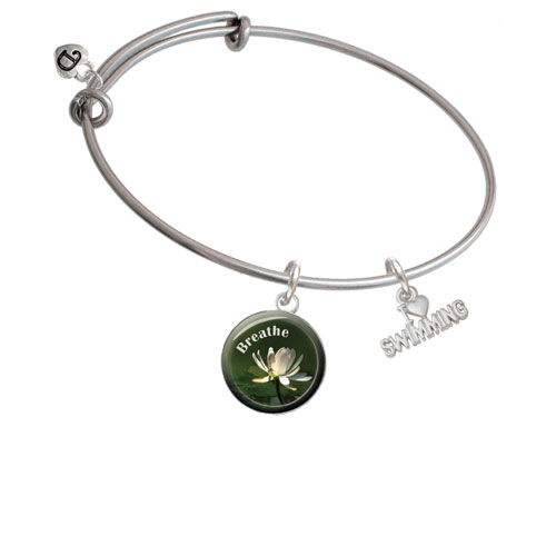I Heart Swimming Breath Bangle Bracelet by Delight and Co.