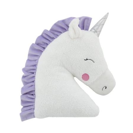 Unicorn Pillow (Little Love by Nojo Unicorn Shaped Plush Sherpa Decorative Pillow - White, Lilac,)
