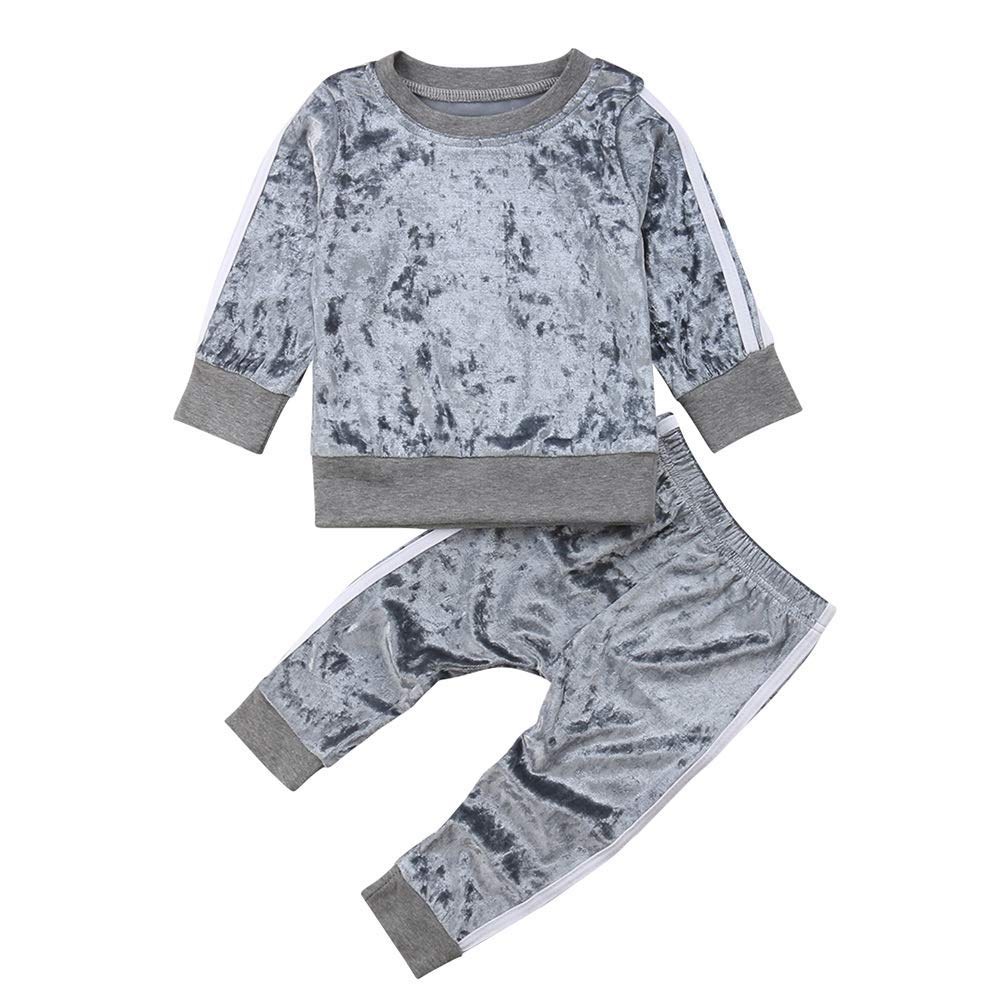 Toddler Kids Baby Girls Casual Velvet Tops Sweatshirt Pants Outfits Autumn Winter Clothes