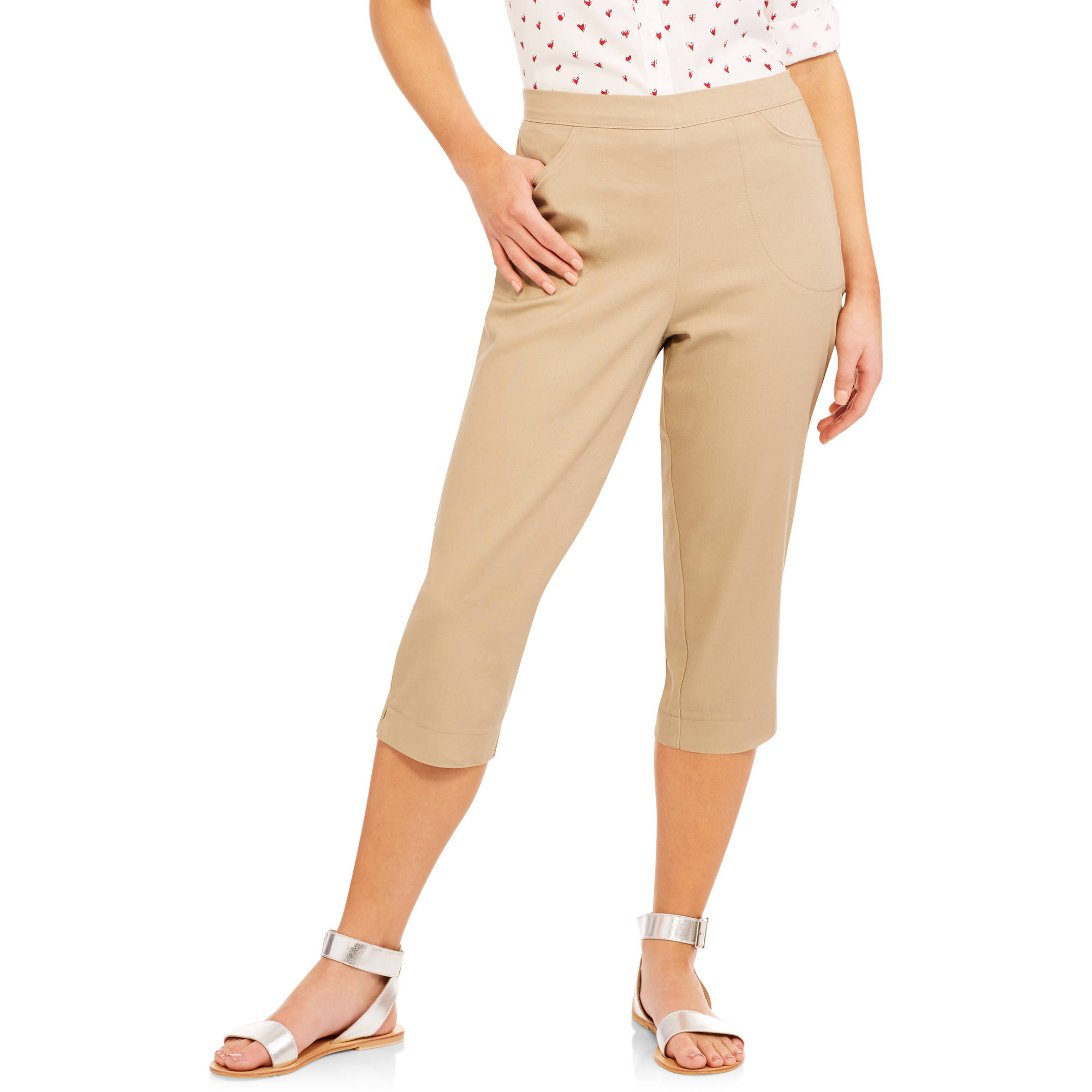 Real Size Women's 2-Pocket Stretch Capri Pants - Walmart.com