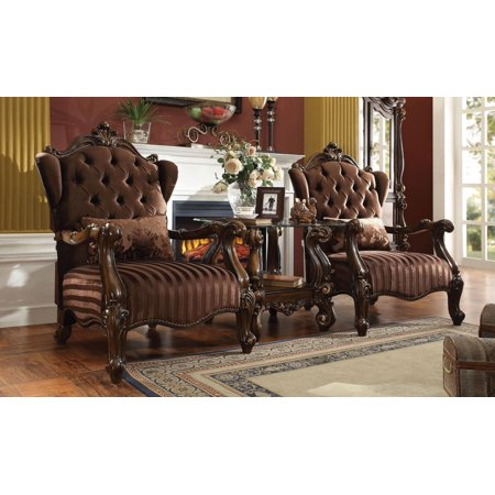 Acme Furniture 52082 Versailles Brown Velvet And Cherry