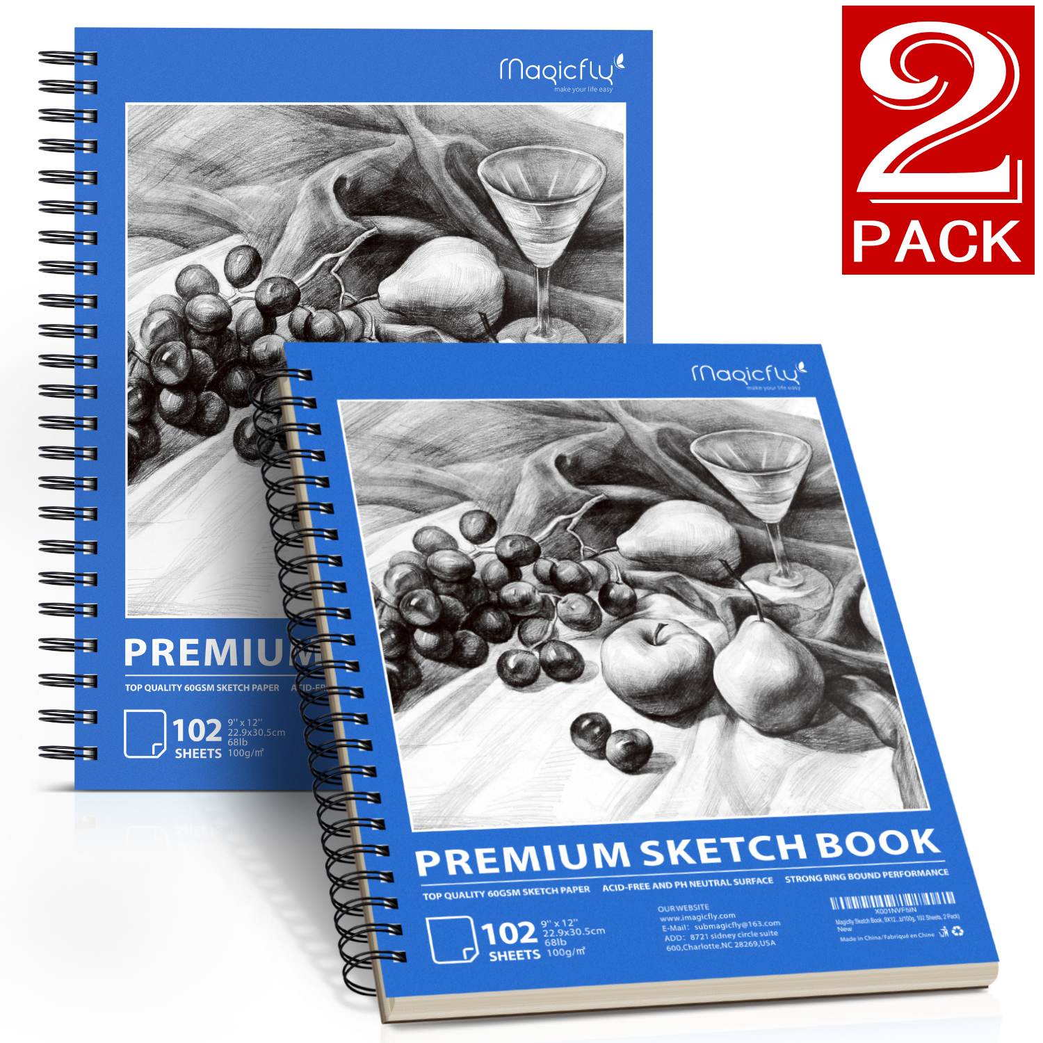 """Sketch Book, Magicfly 2 Pack (9X12"""" 68lb/100g, 102 Sheets Each) Spiral Bound Artist Sketch Pads, Art Book Acid Free Drawing Paper for Kids & Adults, Artists Sketching, Drawing, Notebooks"""