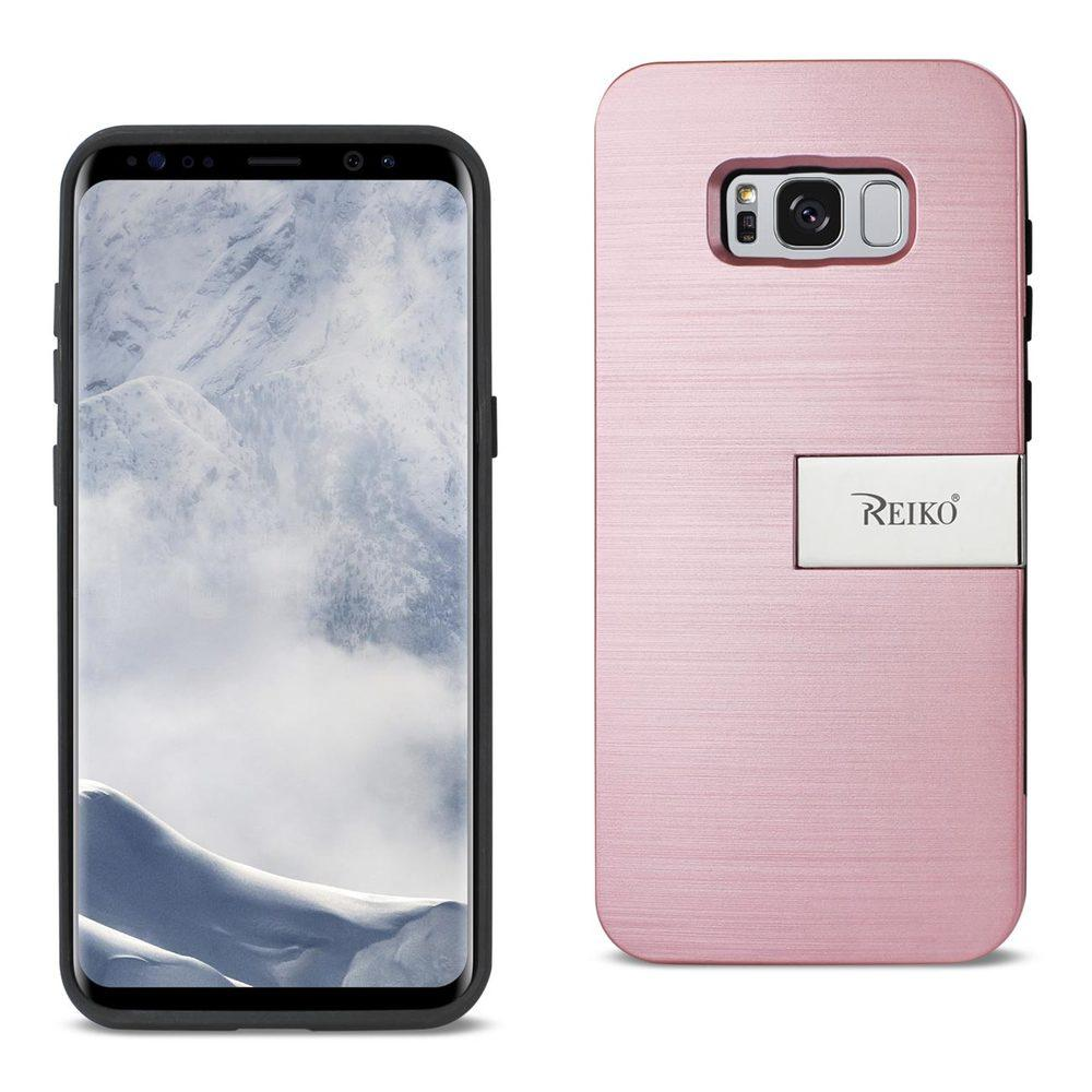 Reiko REIKO SAMSUNG S8 EDGE/ S8 PLUS SLIM ARMOR HYBRID CASE WITH CARD HOLDER AND KICKSTAND IN ROSE GOLD