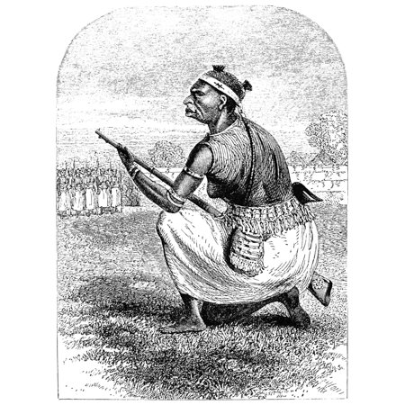 Burton Amazon Soldier Nsir Richard Francis BurtonS Drawing Of An Amazon Soldier From His Mission To Gelele King Of Dahome Published In 1864 At London England Rolled Canvas Art -  (24 x 36)