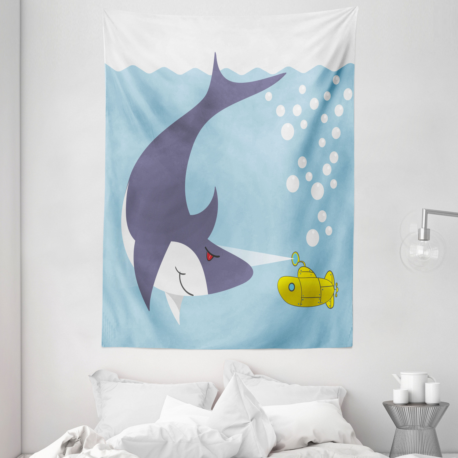 Yellow Submarine Tapestry Shark With Vessel In Ocean Bubbles Under Sea Theme Animals Cartoon Wall Hanging For Bedroom Living Room Dorm Decor 60w X 80l Inches Blue Gray Yellow By Ambesonne