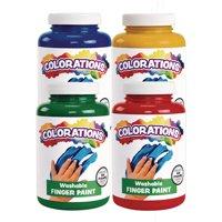Colorations Washable Finger Paints, 16 fluid ounces oz Set of 4 Colors, Non-Toxic, Creamy, Vibrant, Kids Paint, Craft, Hobby, Fun, Art Supplies, Young kids, finger painting, hand paint (Item # FPFOUR)