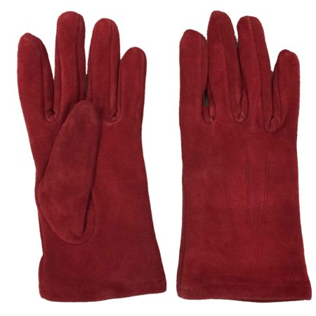Ladies Leather Driving Gloves - Womens Red Suede Leather Driving Gloves Fleece Lined