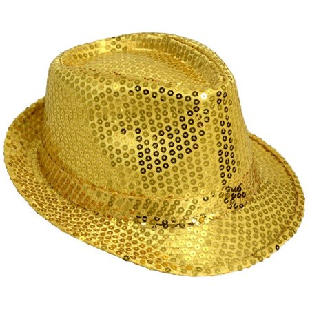 Golf Fedora (Sequined Costume Fedora Parade Gangster Gold Showgirl Sequin Accessory)