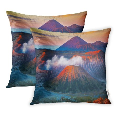 CMFUN Mount Bromo is Active Volcano and Part of The Tengger Massif in East Java Pillowcase Cushion Cases 18x18 inch Set of (Melting Point Of 4 Bromo 2 Chloroacetanilide)