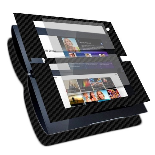 Skinomi Carbon Fiber Black Tablet Skin+Screen Protector Cover for Sony Tablet P
