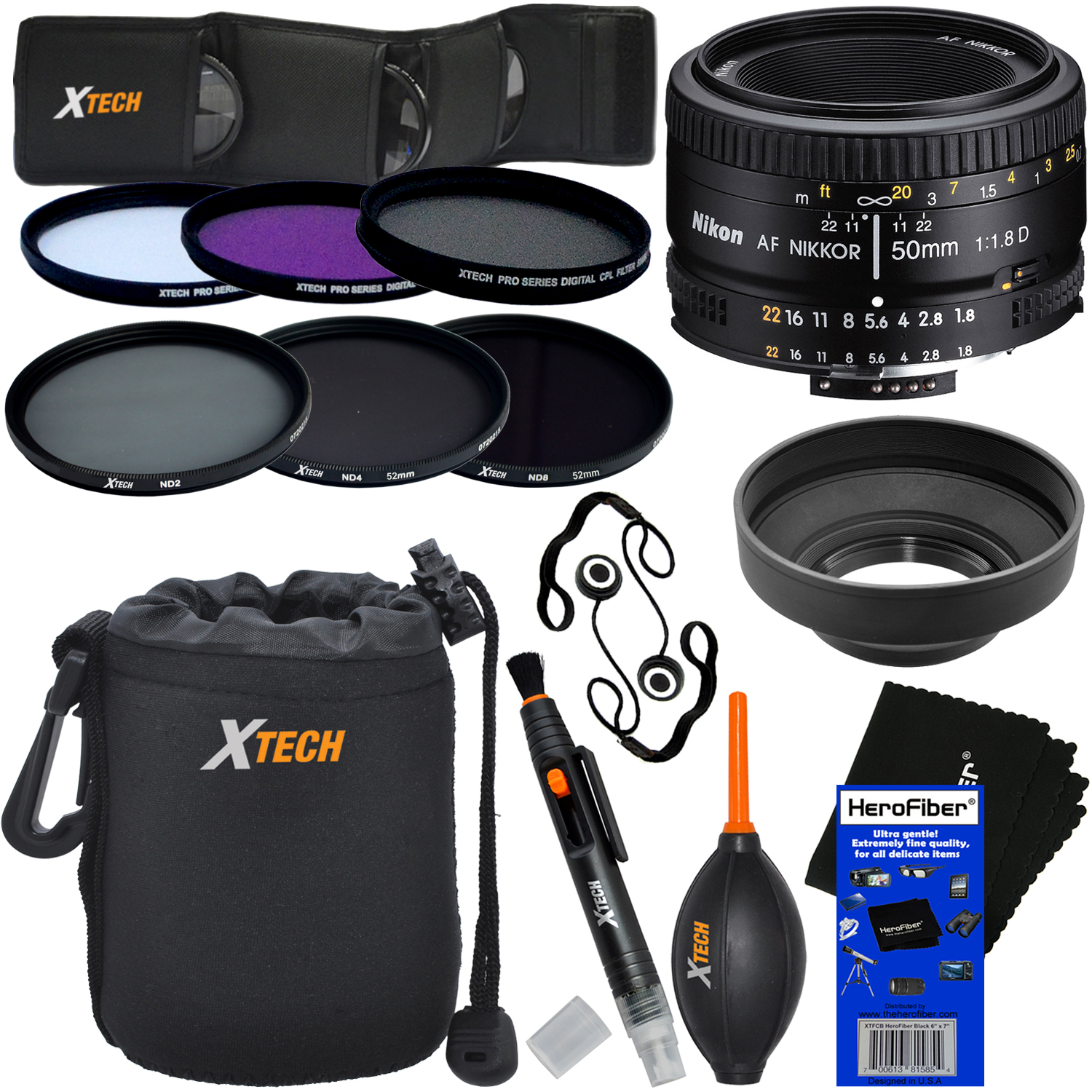 Nikon AF FX NIKKOR 50mm f/1.8D Lens with Auto Focus for Nikon DSLR Cameras + ND Filters ND2, ND4, ND8 + 11pc Deluxe Accessory Kit w/ HeroFiber Cleaning Cloth