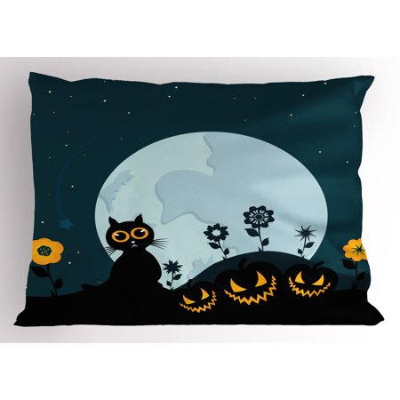 Halloween Pillow Sham Cute Cat and Lanterns Moon on Floral Field with Starry Night Sky Star Cartoon Art, Decorative Standard Size Printed Pillowcase, 26 X 20 Inches, Blue Black, by Ambesonne](Halloween Cartoon Artwork)