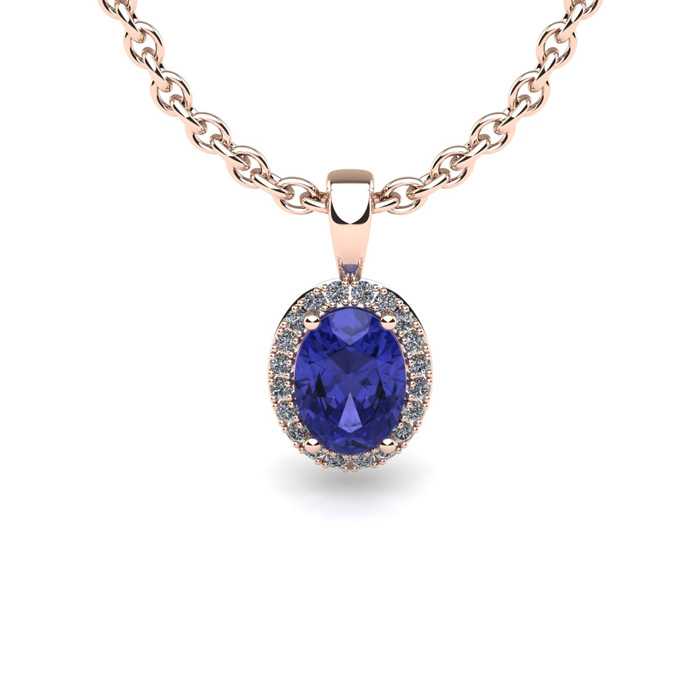 0.62 Carat Oval Shape Tanzanite and Halo Diamond Necklace In 10 Karat Rose Gold With 18 Inch Chain by SuperJeweler