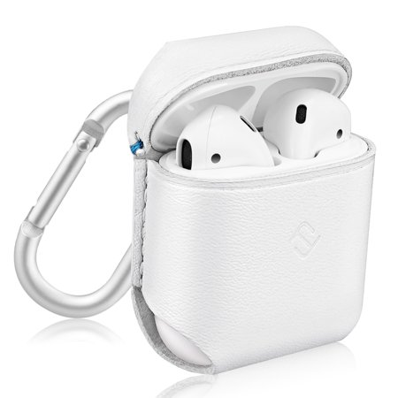 Fintie AirPods Genuine Leather Case - Protective Earbud Cover Skin with Carabiner, White (Protective Leather Skin)