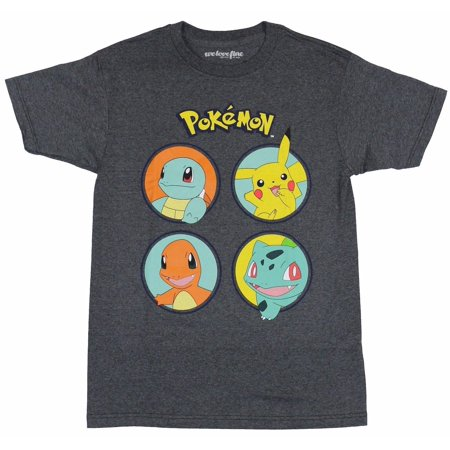 Pokemon 4 Circle Pikachu Squirtle Adult T-Shirt (Misty Pokemon Adult)