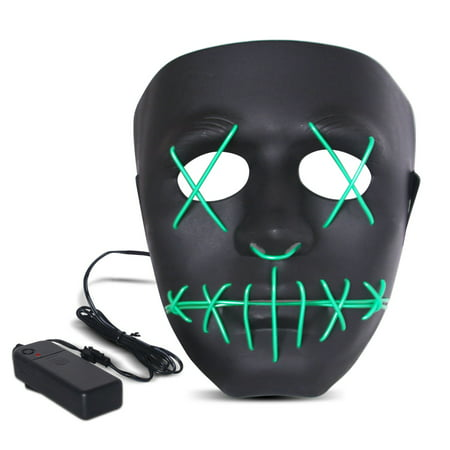 The Purge Halloween (Halloween LED Mask Purge Masks with Lighten EL Wires Scary Light Up Cosplay Costume Mask Battery-operated Glowing Creepy Mask Black with Green)
