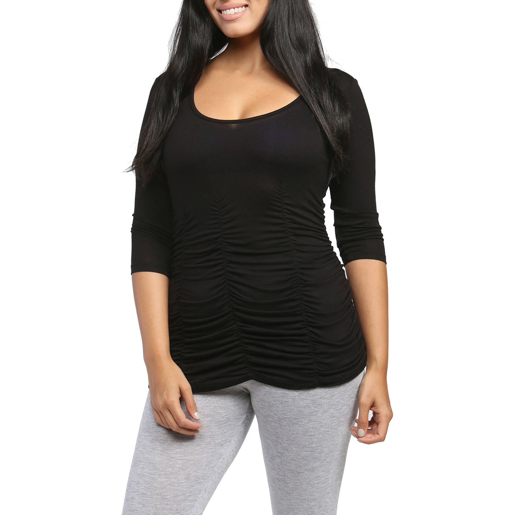 24/7 Comfort Apparel Women's 3/4 Sleeve Shirred Top