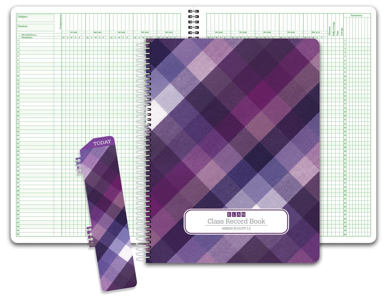 Class Record Book for 9-10 Weeks. 50 Names R1010 (Purple Plaid) by ELAN Publishing Company