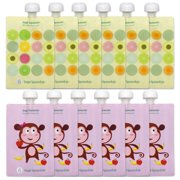 Sage Squeezie Reusable Food Pouch 12 pk, Monkey/Fruit Dots