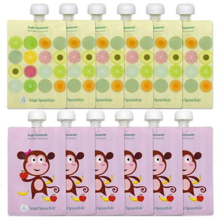 Sage Squeezie Reusable Food Pouch 12 pk, Monkey/Fruit Dots
