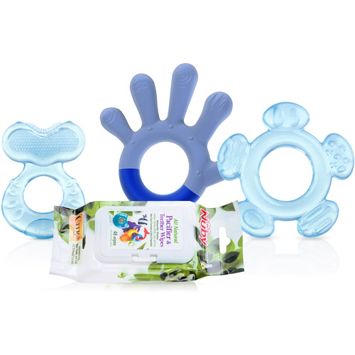 Nuby 3-Stage Teething System with Wipes, Boy, BPA-Free