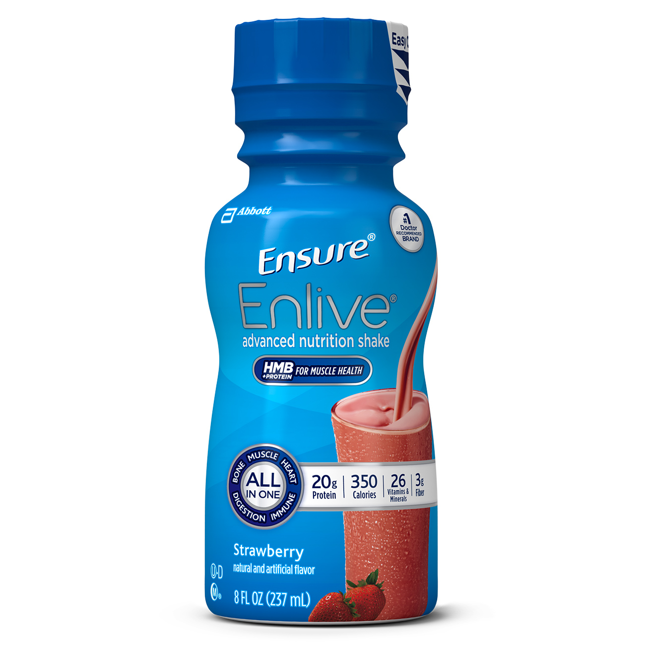Ensure Enlive Advanced Nutrition Shake Strawberry with 20 grams of high-quality protein, Meal Replacement Shakes, 8 fl oz Bottles (Pack of 16)