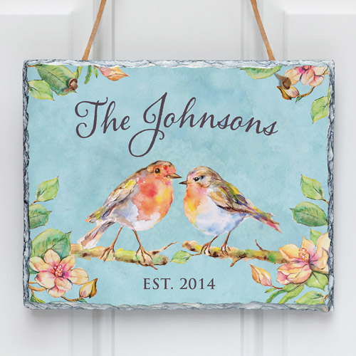 Personalized Sweet Birds Wall Slate