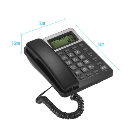 Desktop Corded Landline Phone Fixed Telephone with LCD Display Mute/ Pause/  Hold/ Flash/ Redial/ Hands Free/ Calculator Functions for Home Hotel