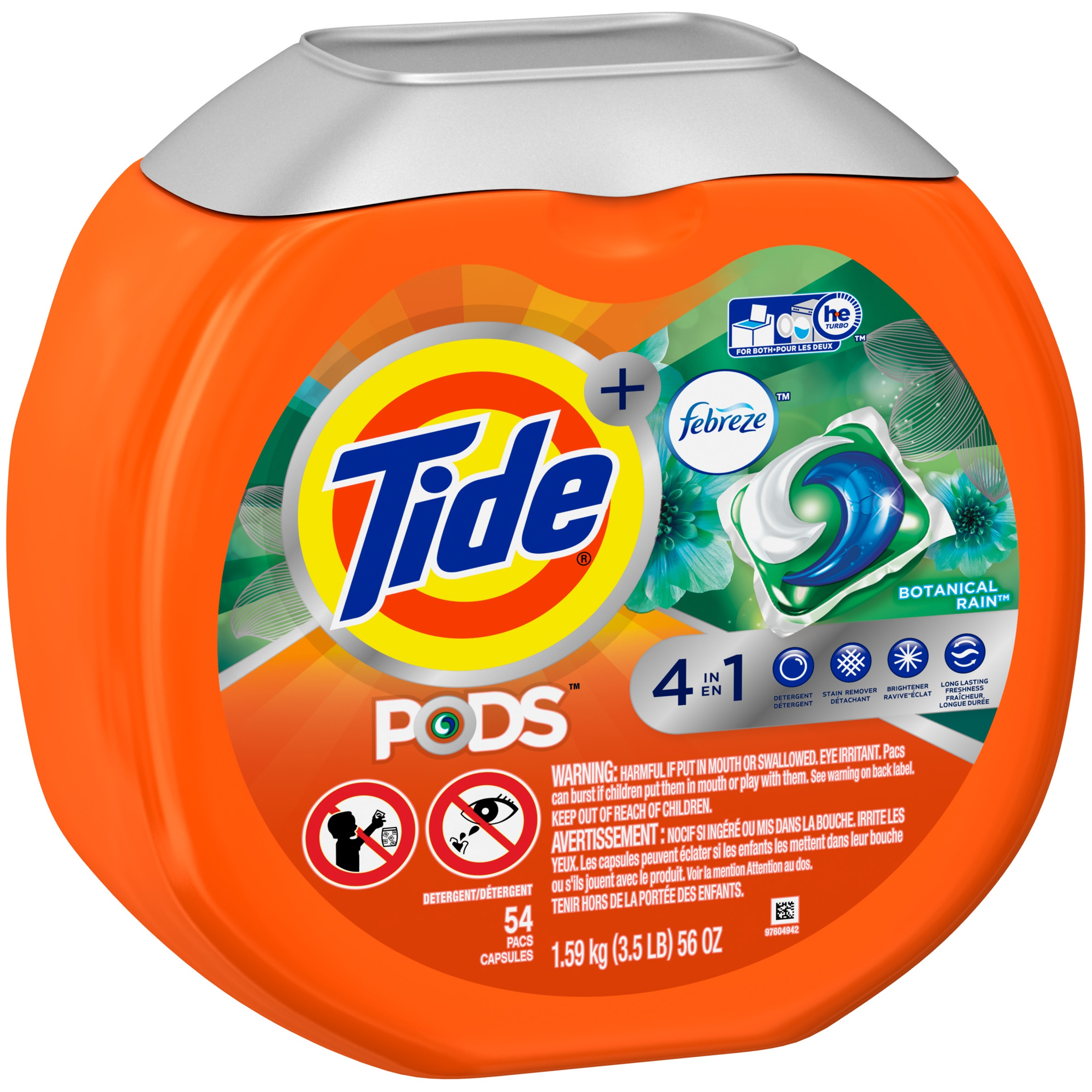 Tide PODS Plus Febreze Odor Defense Laundry Detergent Pacs, Botanical Rain Scent, 54 Count