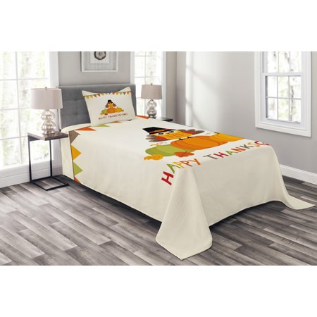Turkey Bedspread Set, Little Bird Sitting on Pumpkins with Pilgrims Hat Festive Autumn Holiday Design, Decorative Quilted Coverlet Set with Pillow Shams Included, Multicolor, by Ambesonne ()