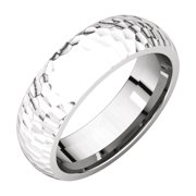 14K White Solid Gold 6 mm Comfort-Fit Hammer Finish Wedding Band Ring Size 9 for Mens