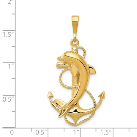14K Yellow Gold Solid Polished Anchor with Dolphin Pendant - image 1 de 2
