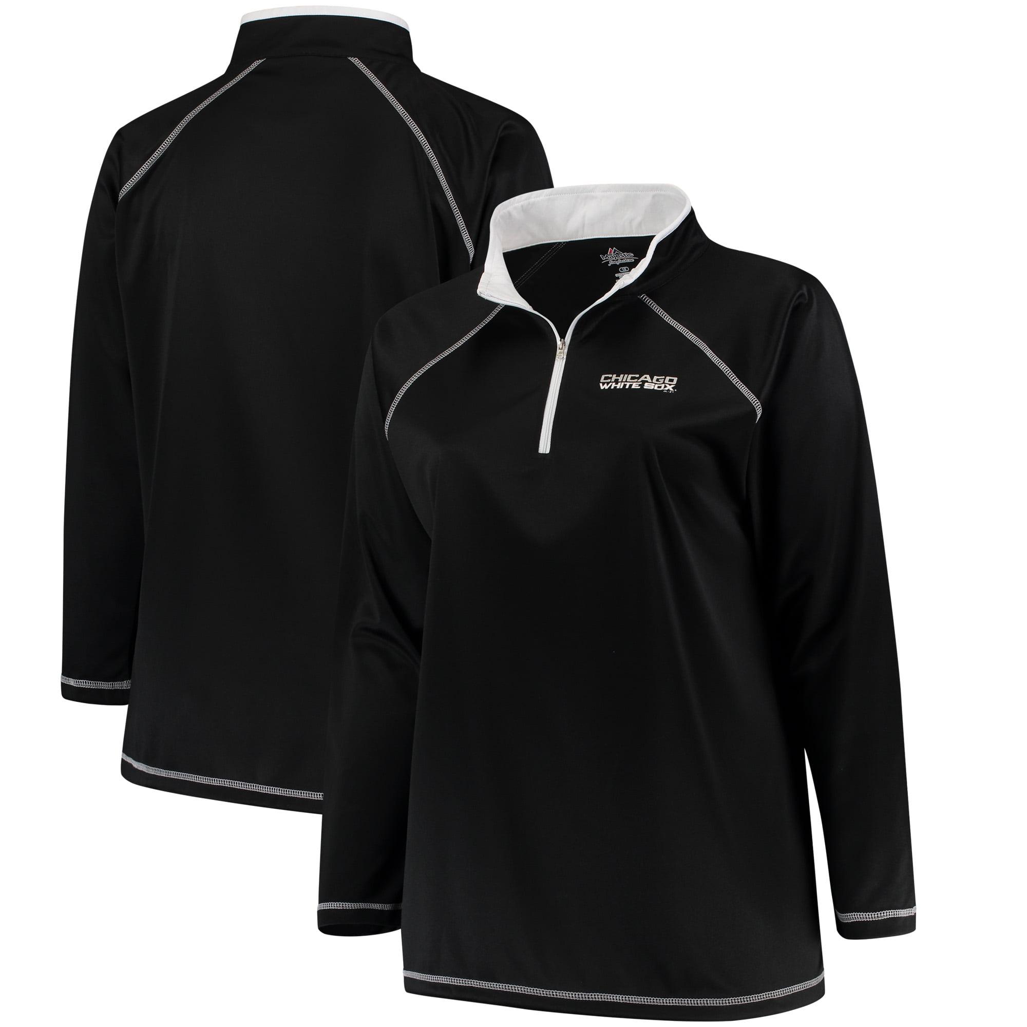 Chicago White Sox Majestic Women's Plus Size Quarter-Zip Pullover Jacket - Black